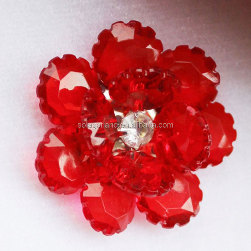 Luxury Crystal Acrylic Bead Artificial Flower Decoration Bead Flower Crystal Flower For Jewelry Projects