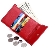 Tri-fold Red Credit Card Holder Wallet Women 2018