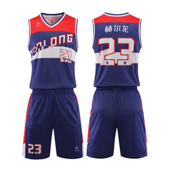 HEALONG custom sublimation printing  basketball jersey  design latest basketball jersey uniform design color blue