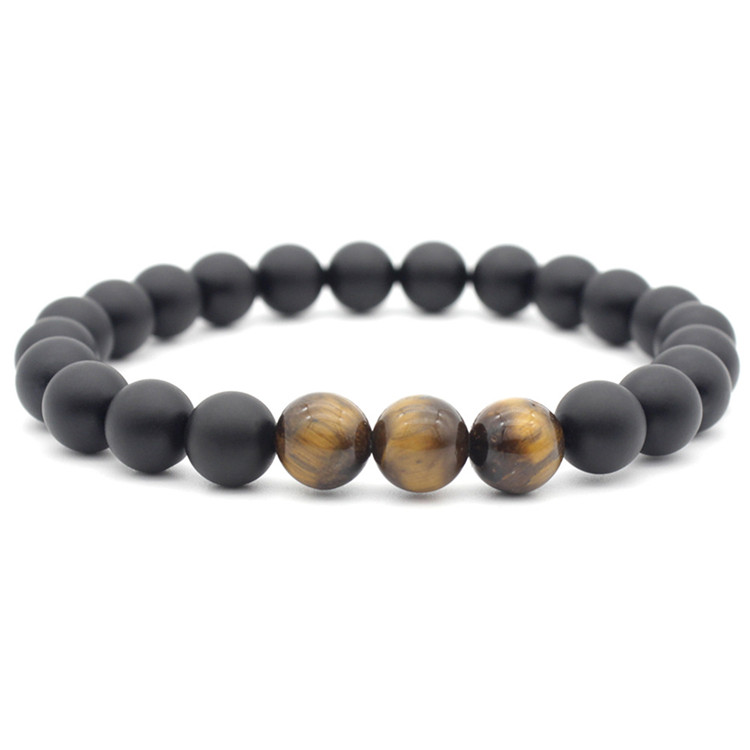 Popular Gemstone Jewelry High Quality Tiger Eye Stone Bracelet Men black agate bracelet