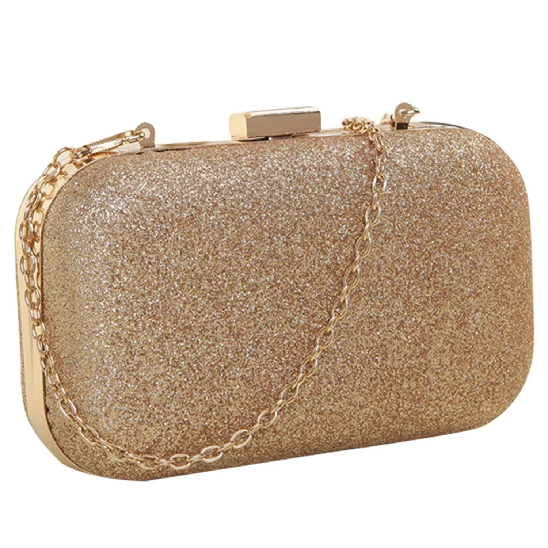 Mini Evening Bag - SODIAL(R)PU leather Women's mini evening bag fashion clutch banquet bag girls shoulder bag Messenger bag, Gold