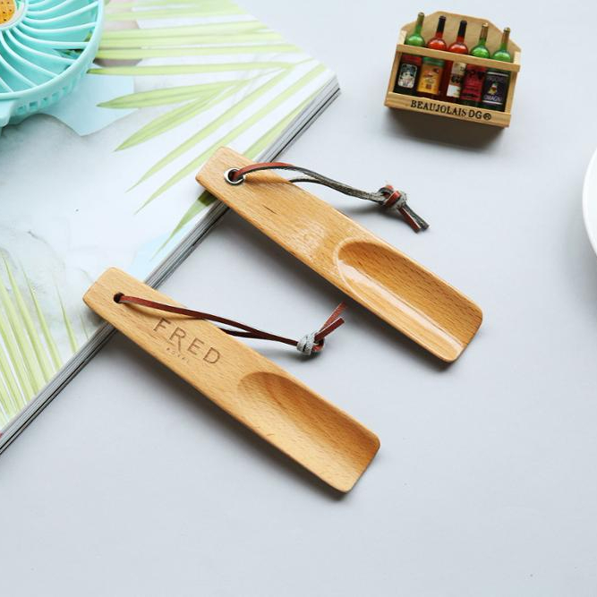 Short shoe horn bamboo with logo gift plate wooden shoe horn wooden