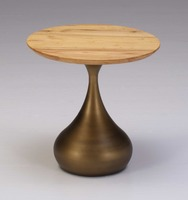 Elegant natural ash wood round end table with Vase type brushed aluminum bottom for decoration