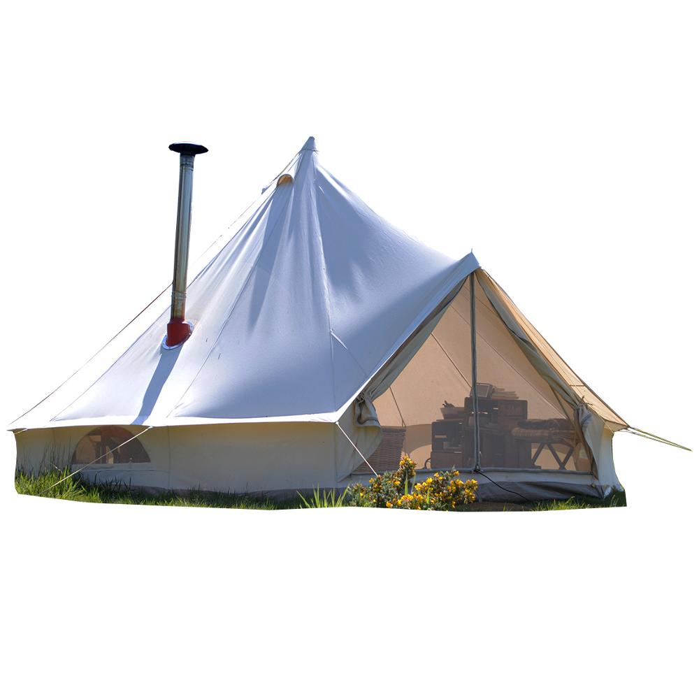 2018 luxe waterdicht passen sibley outdoor 5 m glamping canvas bell tent