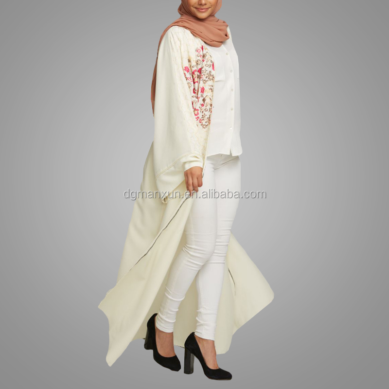 2018 New Arrival Plus Size Embroidery African Clothing Long Sleeve Elegant Front Open Abaya Muslim Long Cardigans