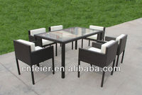 FEIER ET-R1 Outdoor Restaurant Dining 1 Table and 6 Chairs
