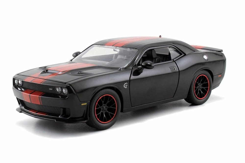 2015 Dodge Challenger SRT Hellcat, Black w/ Red - JADA Toys 97859 - 1/24 Scale Diecast Model Toy Car