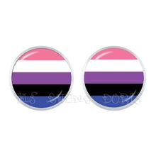 ЛГБТ-цветные круглые гипоаллергенные серьги для ушей, для женщин и мужчин, модные ювелирные украшения для влюбленных, геев, гордыня, аксессу...(Китай)