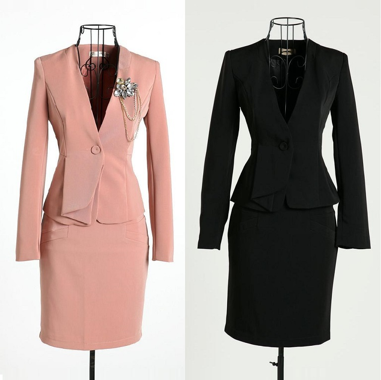 K G Fashions Dresses: New 2015 Autumn And Winter Formal Pink Blazer Women Skirt