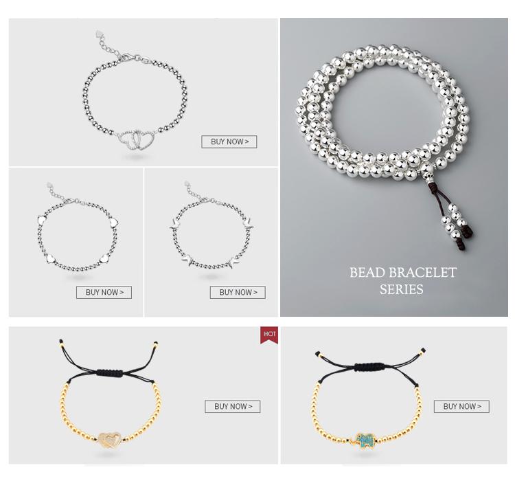Fait main Logo Personnalisé Dames Coeur Gravé Or 925 Perles en Argent Sterling Bracelet Femmes