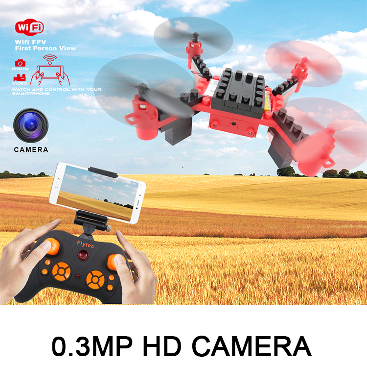2. T11S_Red_WIFI_FPV_DIY_Building_Blocks_Drone_with_0.3MP_Camera_RC_Drone