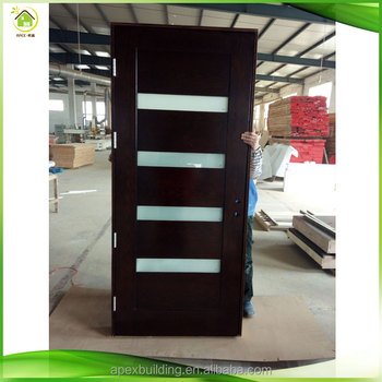 Etonnant Red Oak Solid Wood Interior Doors Prehung ,Contemporary 5 Lite Mist Lite  Stained Mahogany Wood