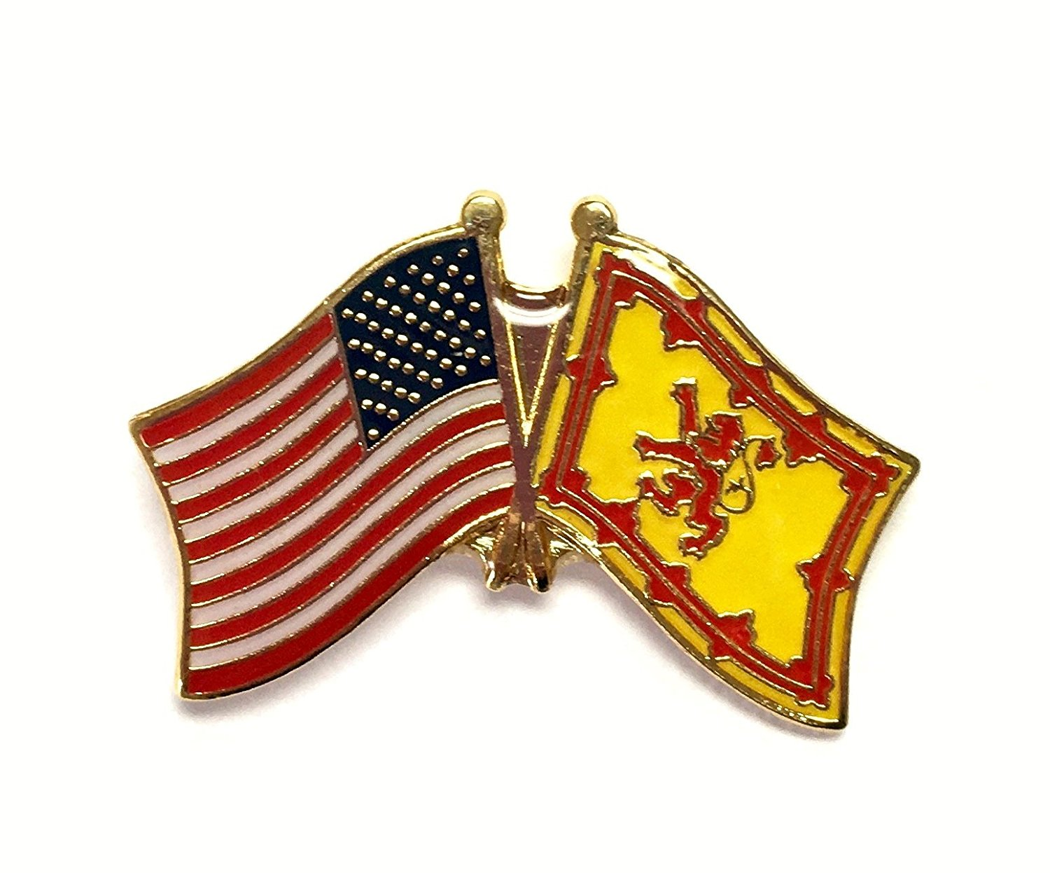 PACK of 3 Scotland Lion & US Crossed Double Flag Lapel Pins, Scottish Lion & American Friendship Pin Badge