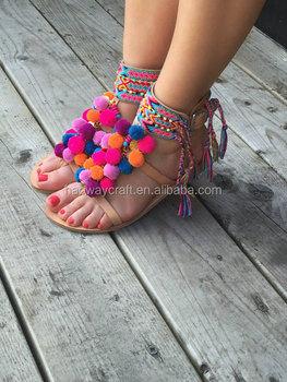 e1793617c282 Hot Selling Boho Tie Up Gladiator Sandals Pom Pom Sandals - Buy ...