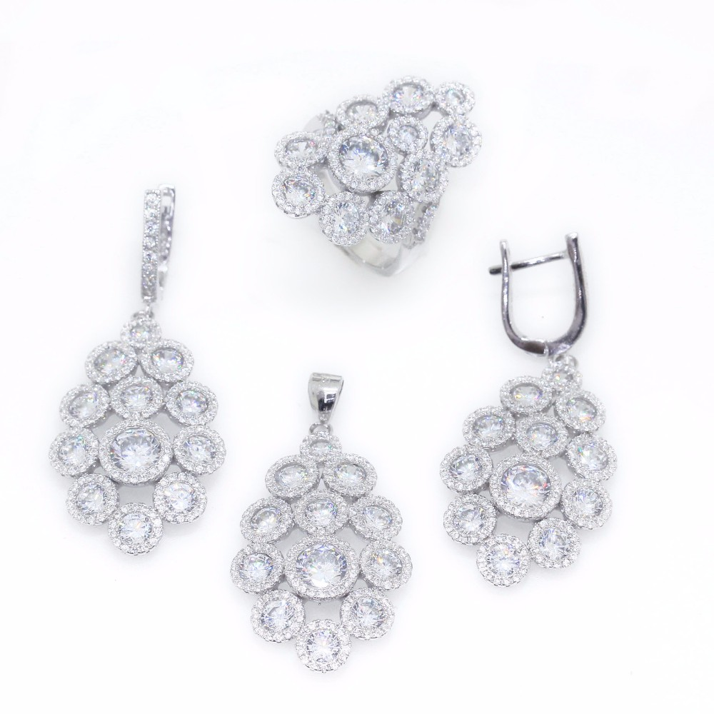 Micro Pave Cubic Zirconia CZ 925 Sterling Silver Jewelry Set CAS2910 CAS2910-2F