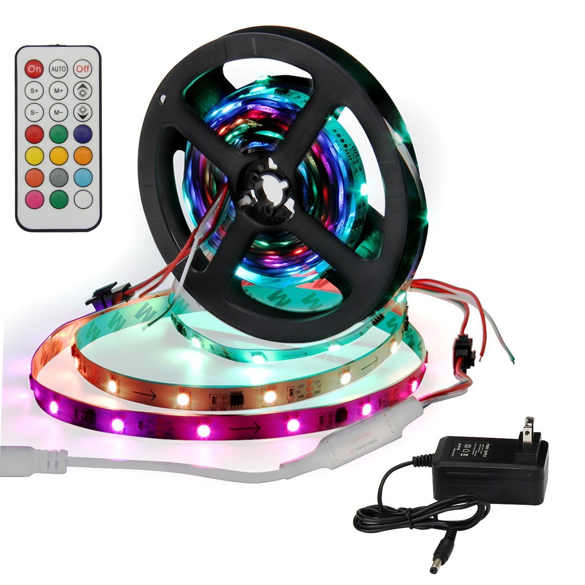 SUPERNIGHT IC 2811 Strip Light Individual Programmable Addressable 16.4ft 5050 RGB Dream Color 150led Rope Lights (Non-waterproof) with Remote Controller + Power Supply Adapter