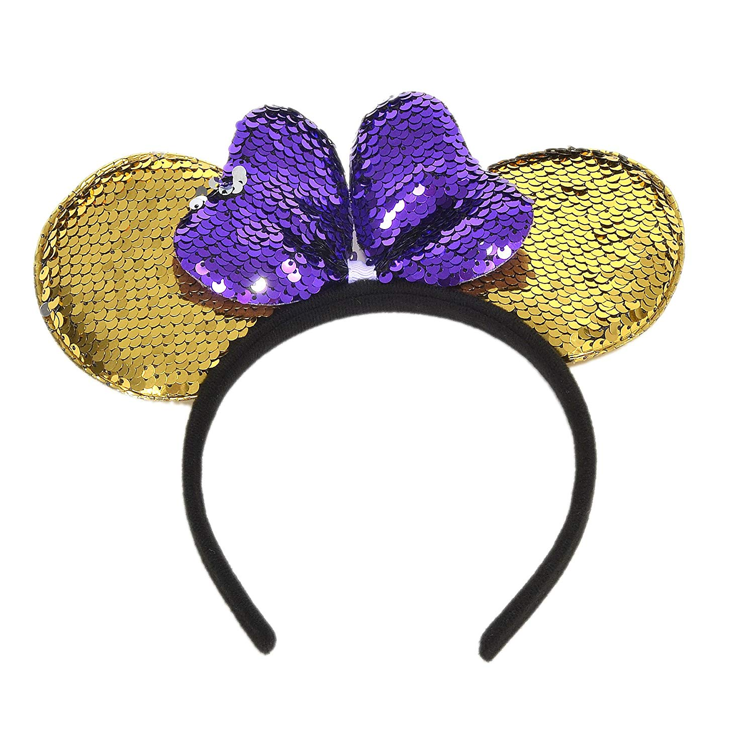 LUVE Purple Minnie Mouse Ears Gold Mickey Ear with Reversible Sequin Sparkle Headband