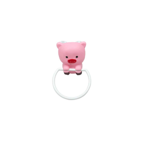 pink cartoon pig plastic towel ring holder