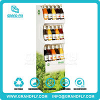 3 tier POP cardboard paper department store display racks for tomato juice