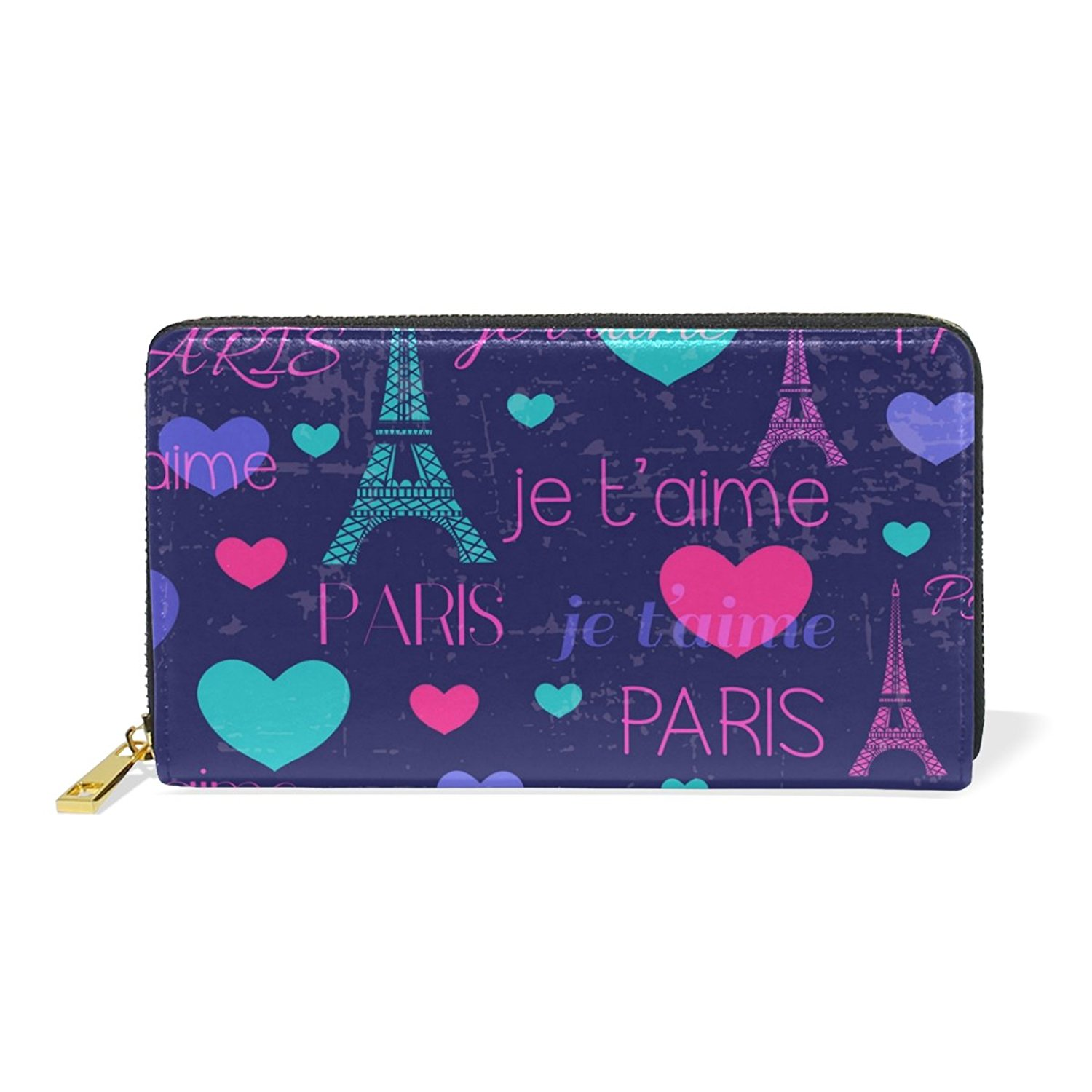 MAPOLO Love Hearts Pattern Womens Clutch Purses Organizer And Handbags Zip Around Wallet