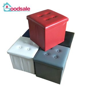 Mixed 5 Color PVC Leather Folding Storage Puff Ottoman Cube Foot Rest Stool,Square Seat Footstool