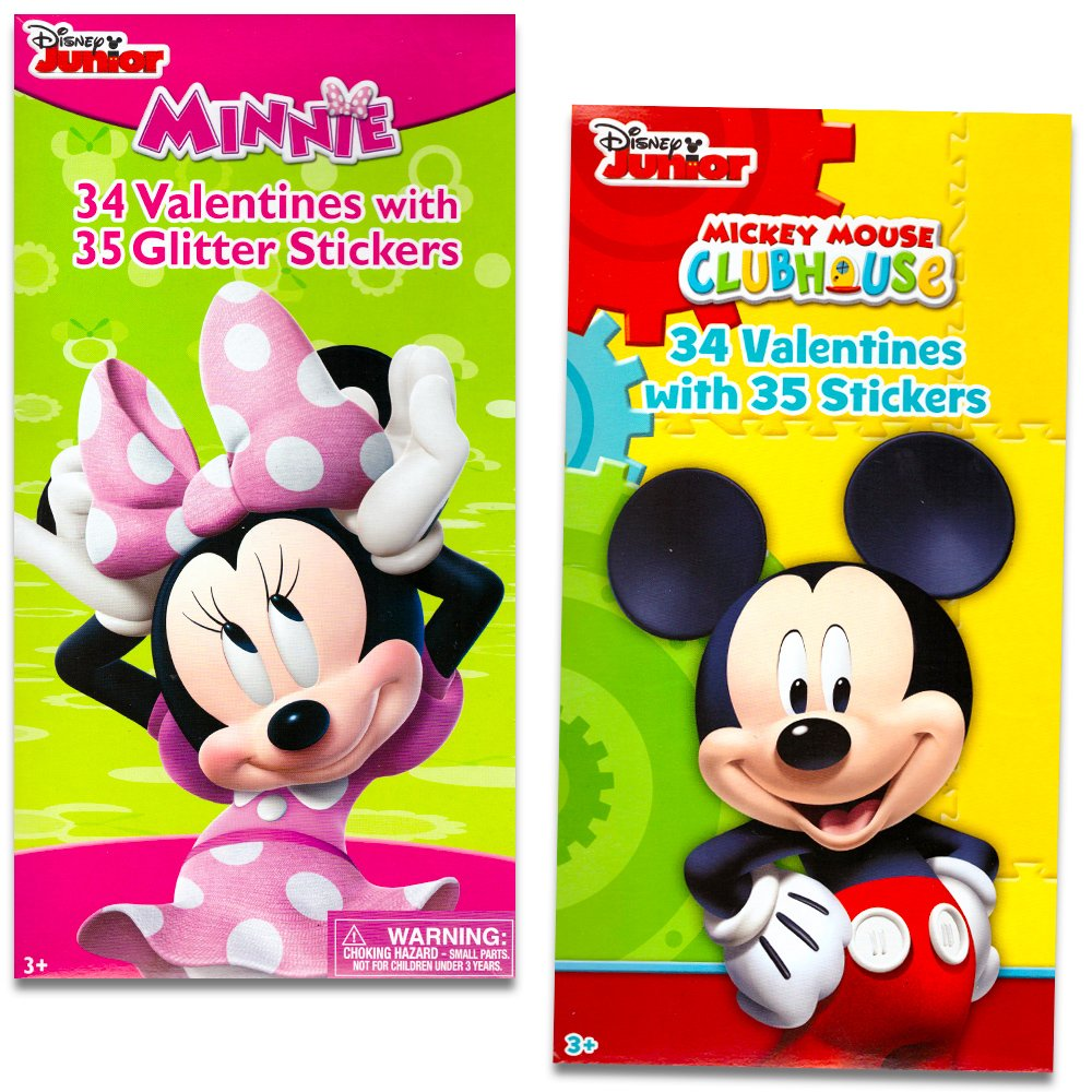 Disney Mickey Mouse and Minnie Mouse Valentines Day Cards Deluxe Set -- 68 Valentines and 70 Glitter Stickers