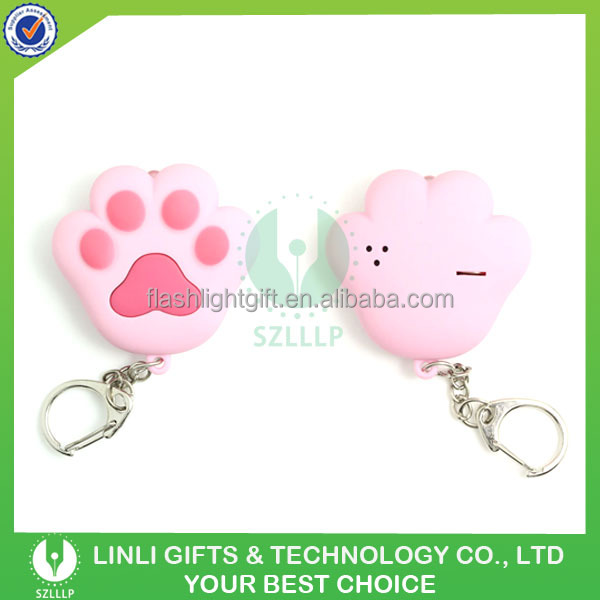 Promotional Rubber Finished Miaow Paw Key Chain with Sound