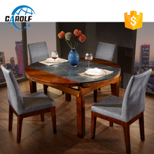 Fashionable design Burning stone top round dining table with chairs