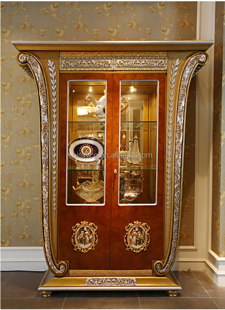 Luxury French Louis XV Style Golden Single Door Curio Cabinet/ Living Room  Glass Fancy Display