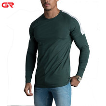 Hoge Kwaliteit Ronde Hals Colour <span class=keywords><strong>Contrast</strong></span> Fit Slim Actieve Training Heren Lange Mouwen T-shirt