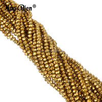 Pujiang Custom Plated AB Color Glass Crystal Rondelle Bead