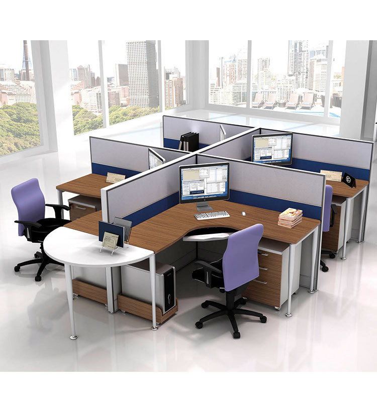 Office Table For 4 Person: Semi Round Office Workstation For One Person