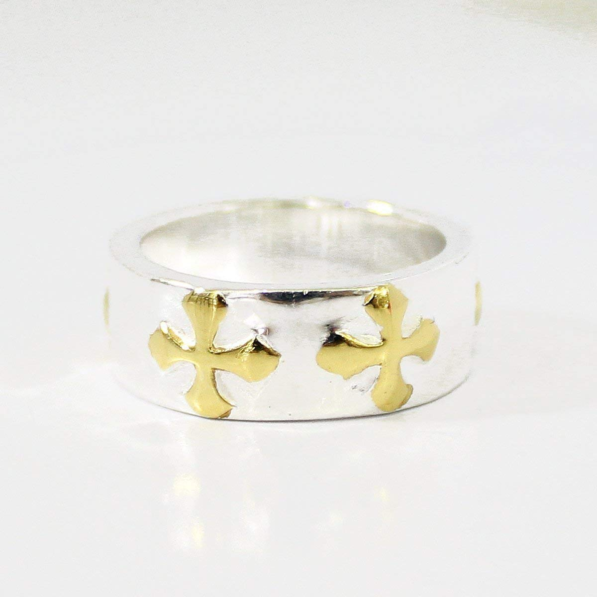 Bali Handmade 925 sterling silver ring size 6 with catholic cross gold plated, silver ring with gold plated, gold plated catholic cross ring, cross ring