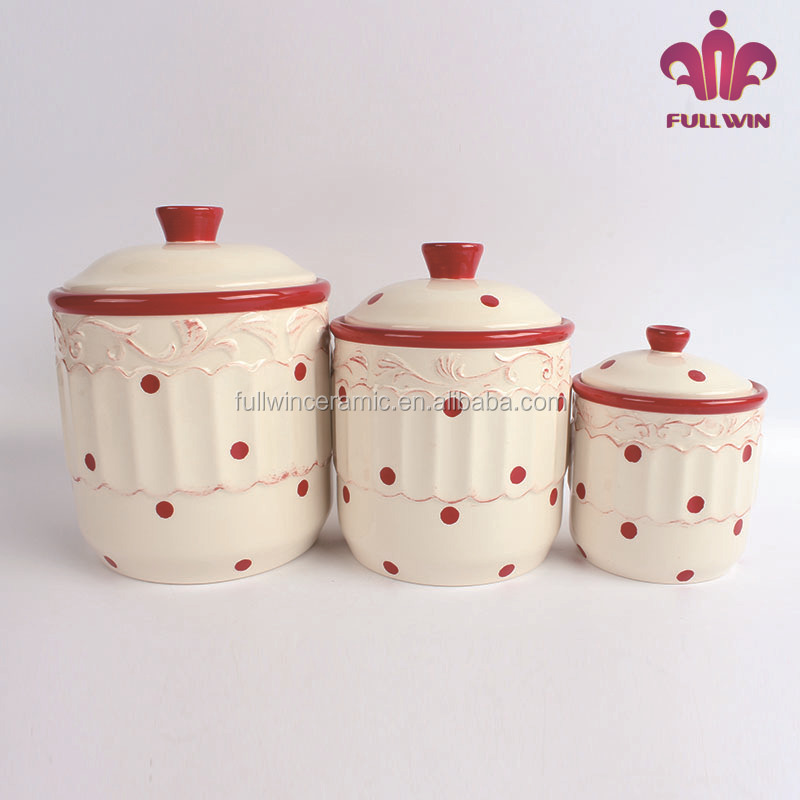 Christmas Decoration Red Dot Painting Ceramic Coffee Canisters ...