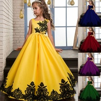 Plus Size Fashion Princess Children Birthday Evening Dress Long Embroidered Ball Gown 3-14 Year Old Girl Dress