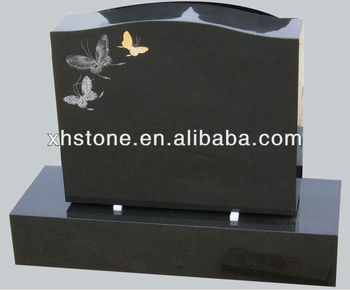 European Style Upright Headstones Hand Etching Butterfly