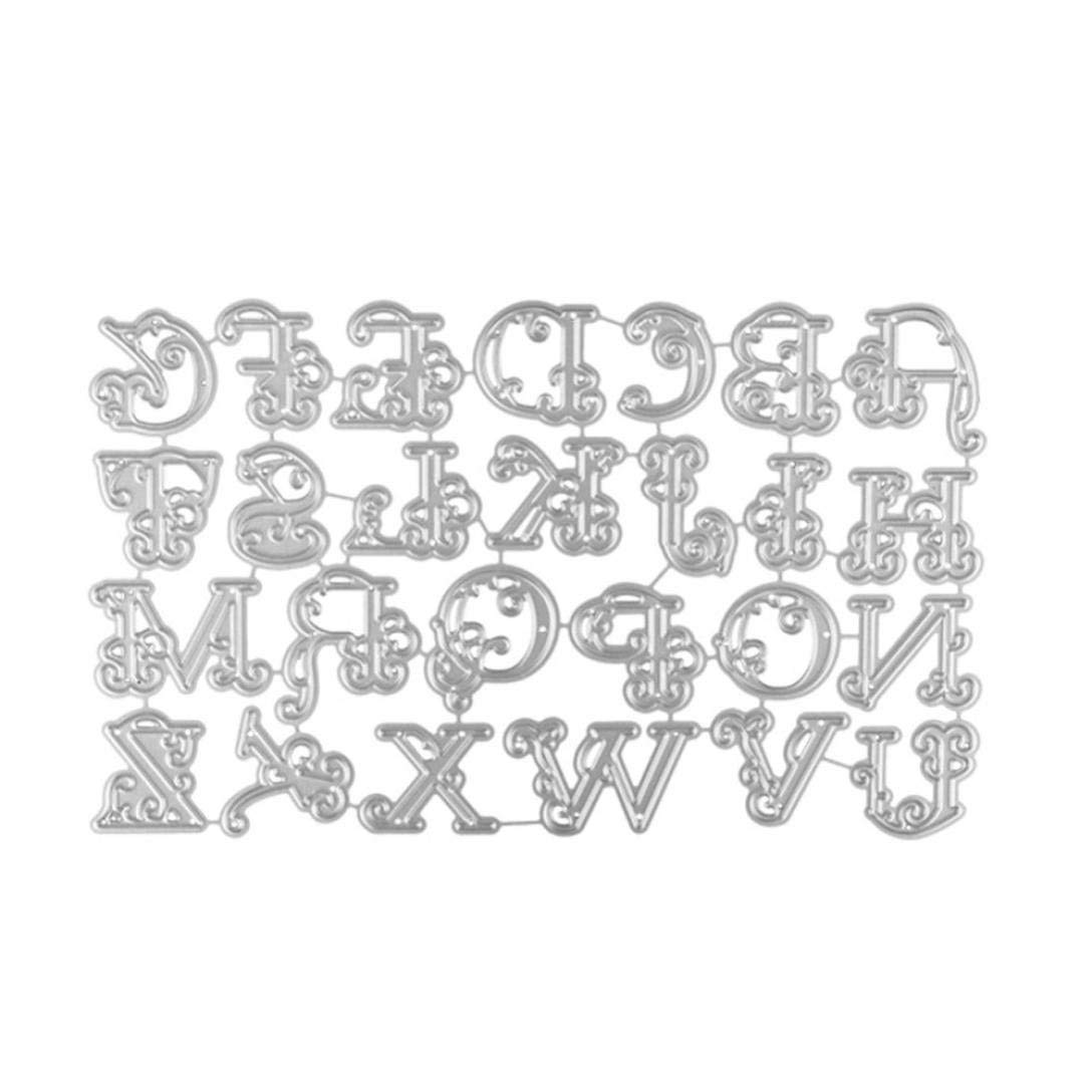 Pollyhb Cutting Dies, New Metal Cutting Dies Stencils Scrapbooking Embossing DIY Crafts,A set contains 26 letters,For Card Making Scrapbooking (26 letters 160x99MM)
