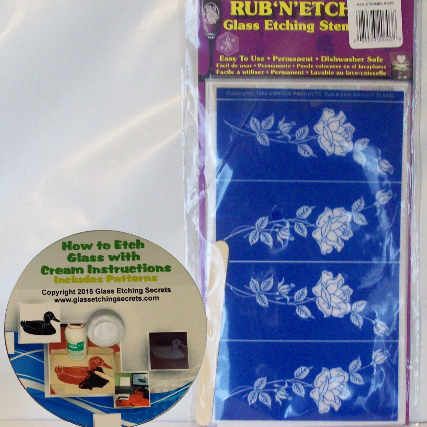 Buy Roses Glass Etching Stencil, Rub N Etch + Free How to