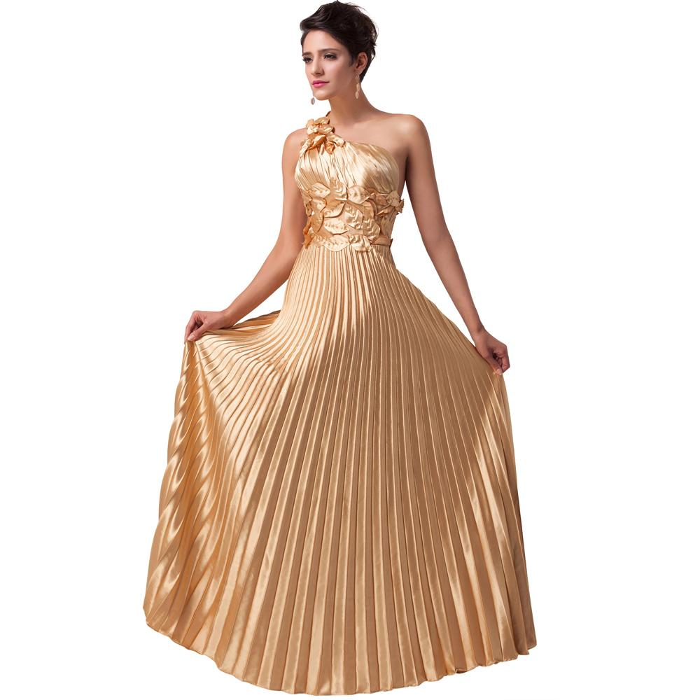 55a29521c0 Buy One Shoulder Satin Gold Evening Dress Sexy Long Party Prom Dresses  Vestidos Largos De Noche Grace Karin Formal Evening Gown 6033 in Cheap  Price on ...