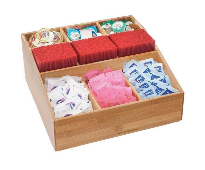 coffee shop furniture 9 Compartment Condiment Organizer in Bamboo wooden condiment caddy
