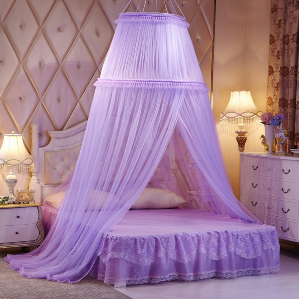 Lace ribbon dome bed canopy, Dome Palace mosquito net Hanging princess style bed canopy curtains for twin Queen and king size bed-D King