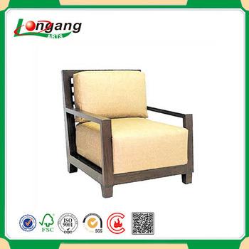 Living Room Furniture Wooden Armchair , Sponge Seat Elbowchair Woden Sofa