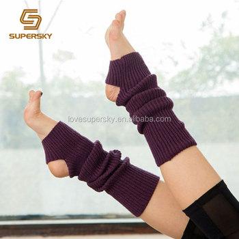 A312 Knitting Pattern Knee Yoga Socks Spats Knitted Long Yoga Leg