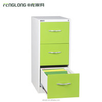 Knock down green color steel 3 drawer file cabinet