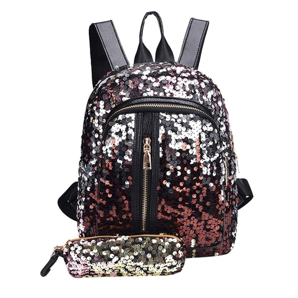 272faaede3d5 Get Quotations · Fashion Girls Teen Sequins School Bag Backpack Travel  Daypack Shoulder Bag+Clutch Wallet