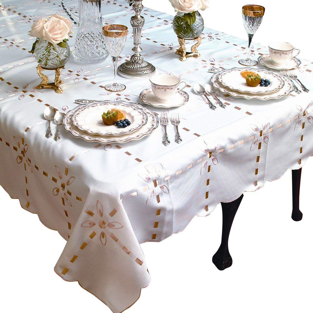 "Violet Linen Crown with Ribbon Embroidered Oblong/Rectangle Tablecloth, 52"" x 70"", White"