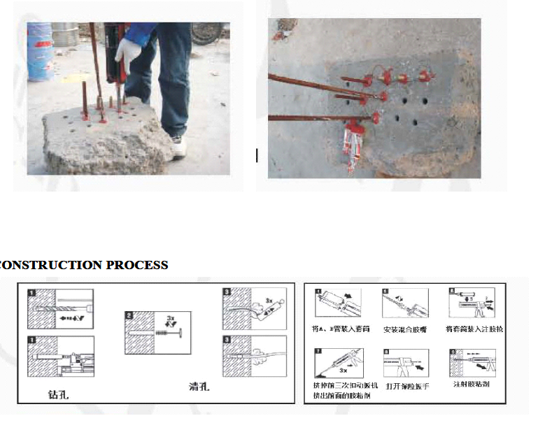 Two-component Epoxy anchoring adhesive for steel bars and bolts in concrete