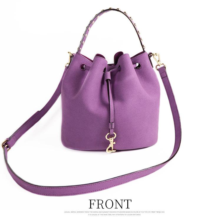wholesale suede leather ladies purple tote shoulder hand bags women bucket handbags