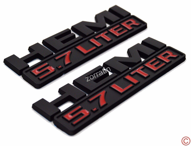 Dodge Ram BLACK HEMI 5.7 LITER Emblem Nameplate Decal Badge X2 NEW OEM MOPAR
