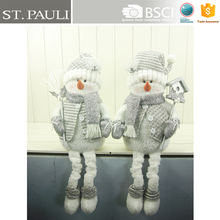 22 inch popular silver Christmas stuffed hanging leg holding broom and postbox snowman decoration